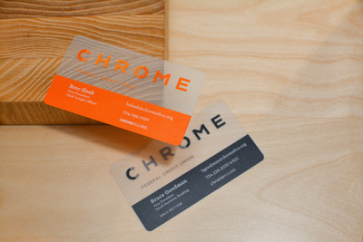 Two plastic business card designs for a bank that features semi-transparent plastic material