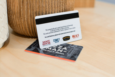 A card with several small logos used by a restaurant group showing a magnetic encoding stripe