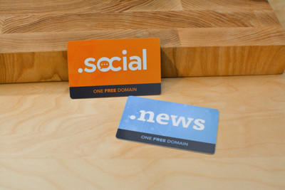 Two cards that feature the text '.news' and '.social' to promote new domain extensions for sale