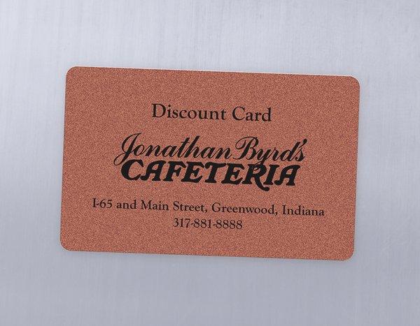 Metallic plastic gift card